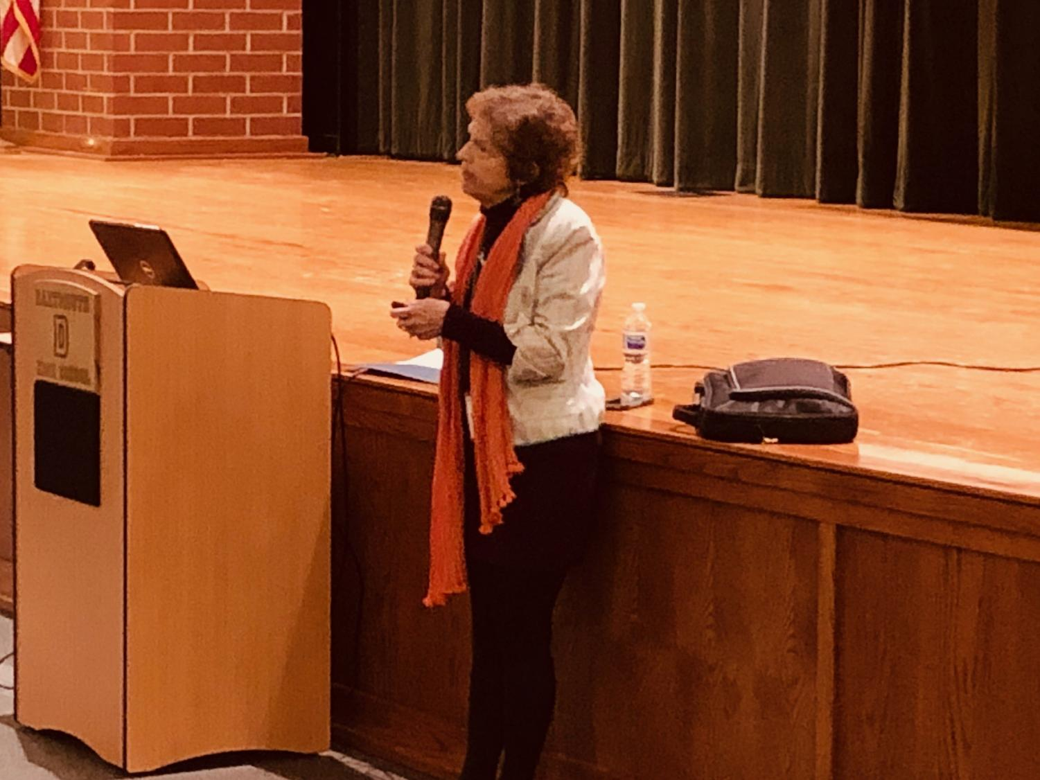 Dartmouth resident and author Holly Fitzgerald speaks to DHS students on Monday, November 5.