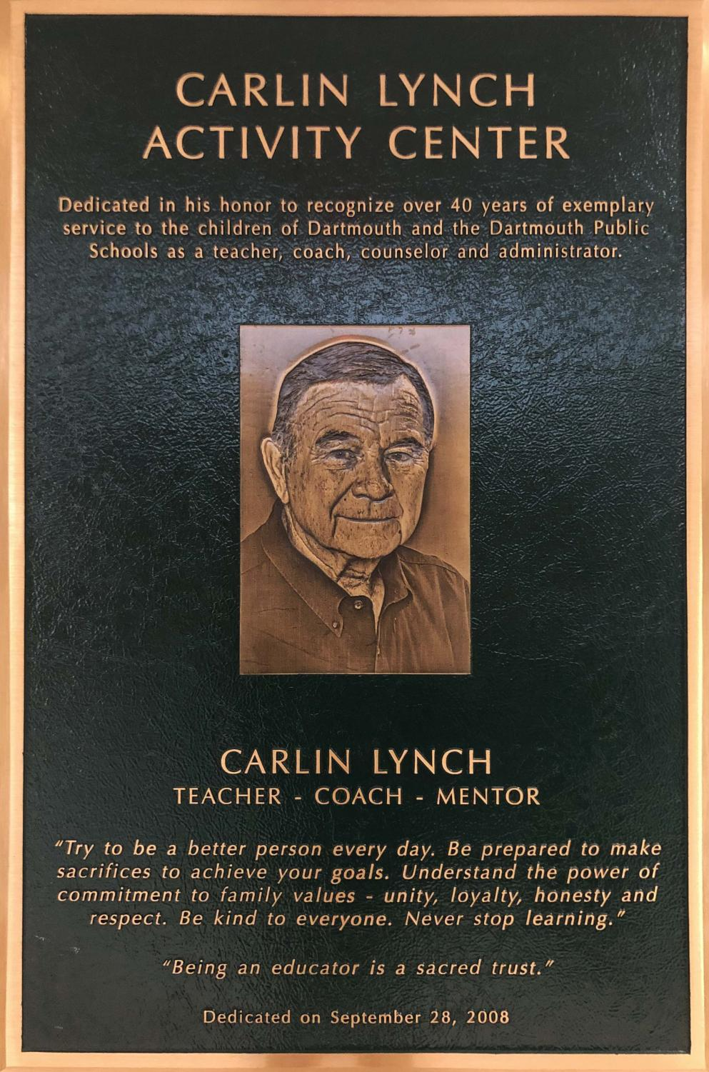 The plaque dedicating the DHS Athletic Center in Carlin Lynch's name.