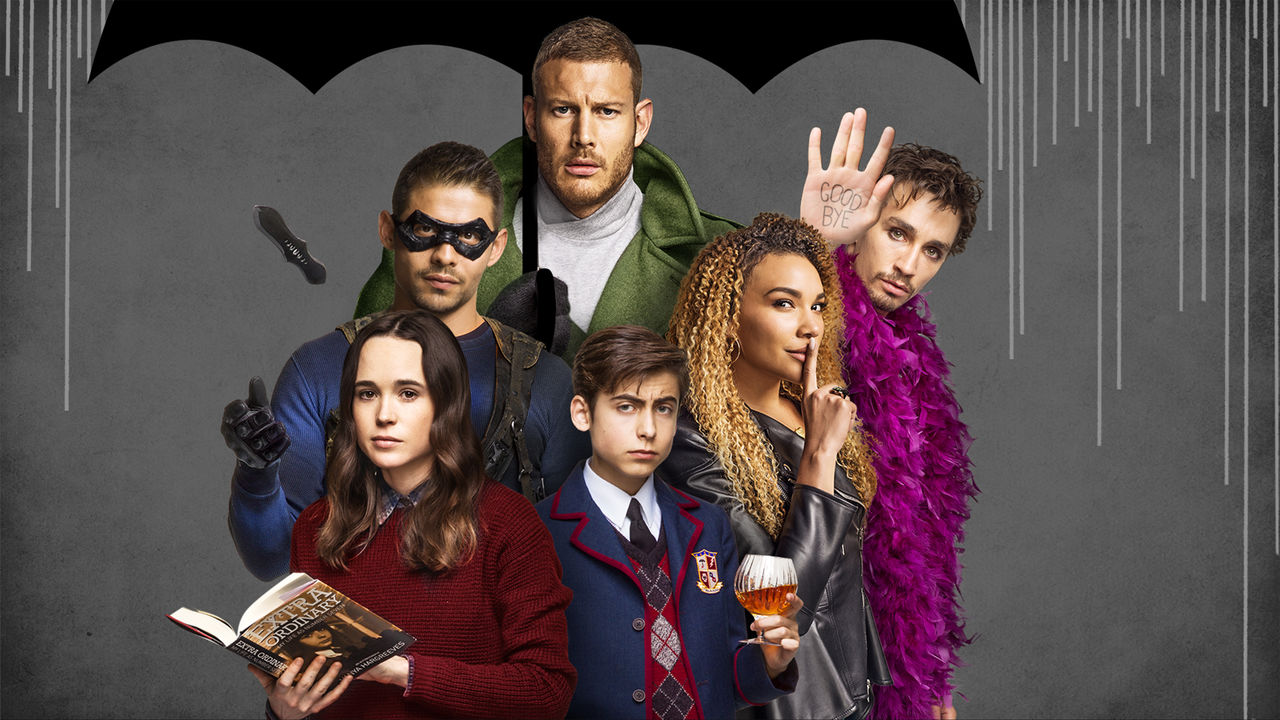 The cast of The Umbrella Academy on Netflix. Season 1 is streaming now.