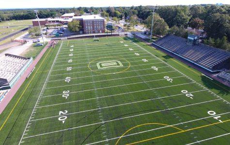An aerial view of Memorial Stadium.