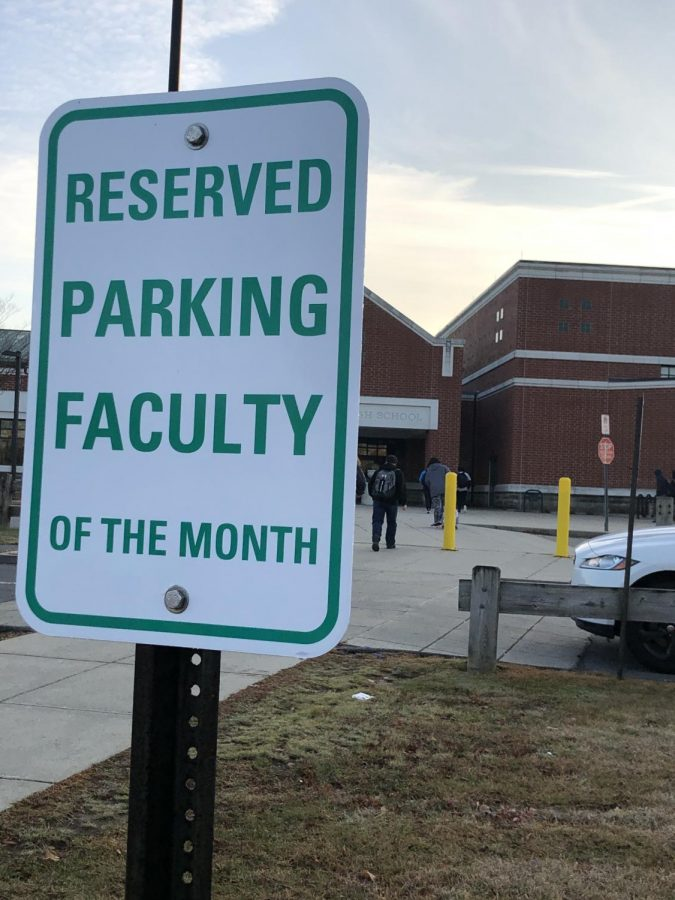 DHS Student of the Month and Teacher of the Month get prime parking spots.