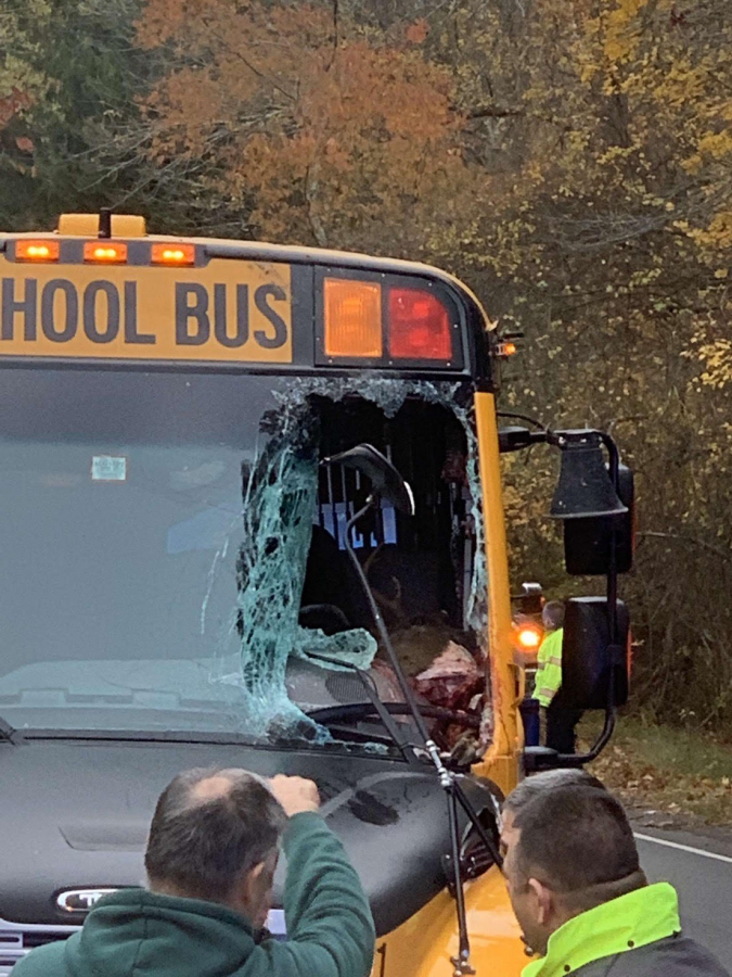 A+direct+view+into+the+wreckage+caused+by+a+deer+jumping+through+the+window+of+a+DHS+bus.+Bus+driver+Mark+Jardin+kept+students+safe+throughout+the+experience.