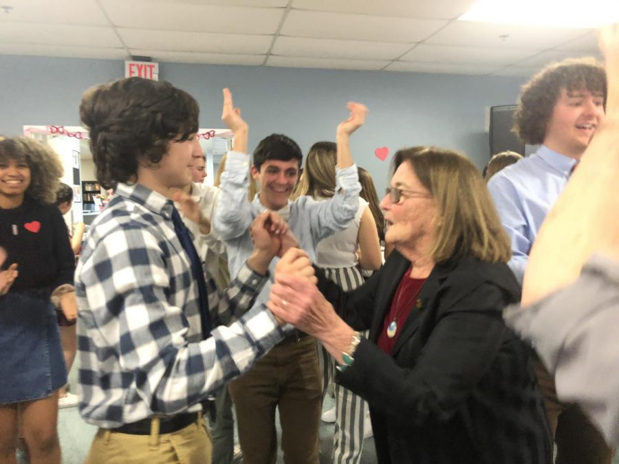 Joey Paiva dancing with Finn Helgesen's grandmother at the NHS Valentine's Day dance.