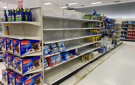 Shelves at Target are cleared of cleaning supplies and paper products.