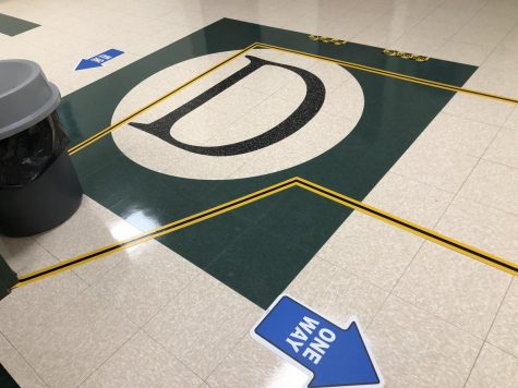 All hallways are now marked with direction arrows and paths for students to follow and are meant to encourage social distancing.