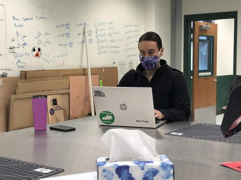Technology Instruction Coach Jen Thomas spends her busy days offering helpful strategies and troubleshooting to teachers who have been thrust headfirst into remote learning.